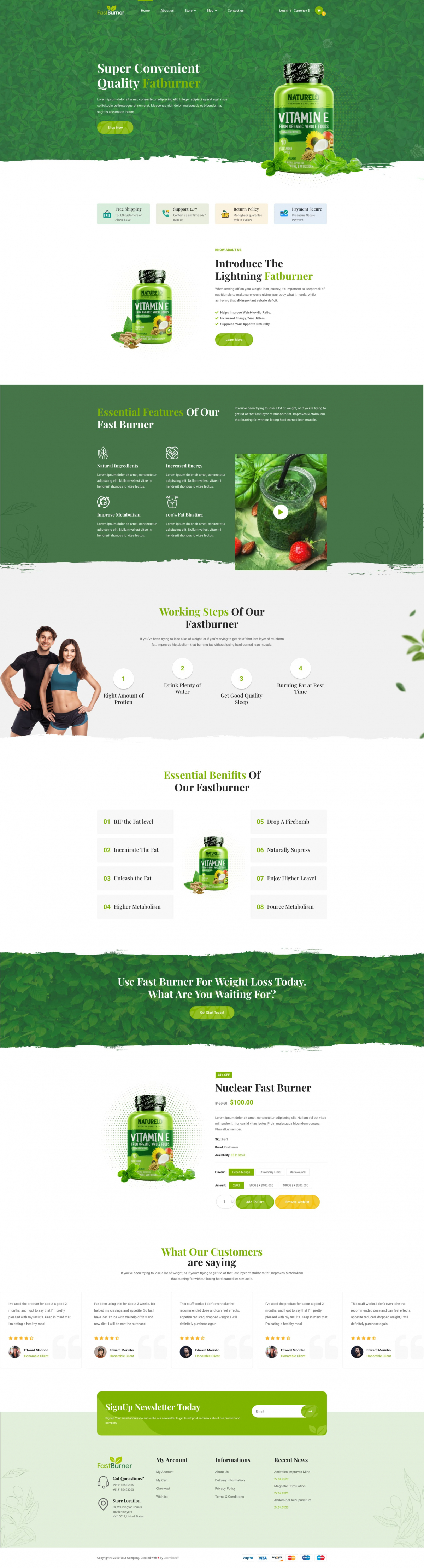 Fastburner - Single Product eCommerce Joomla Template