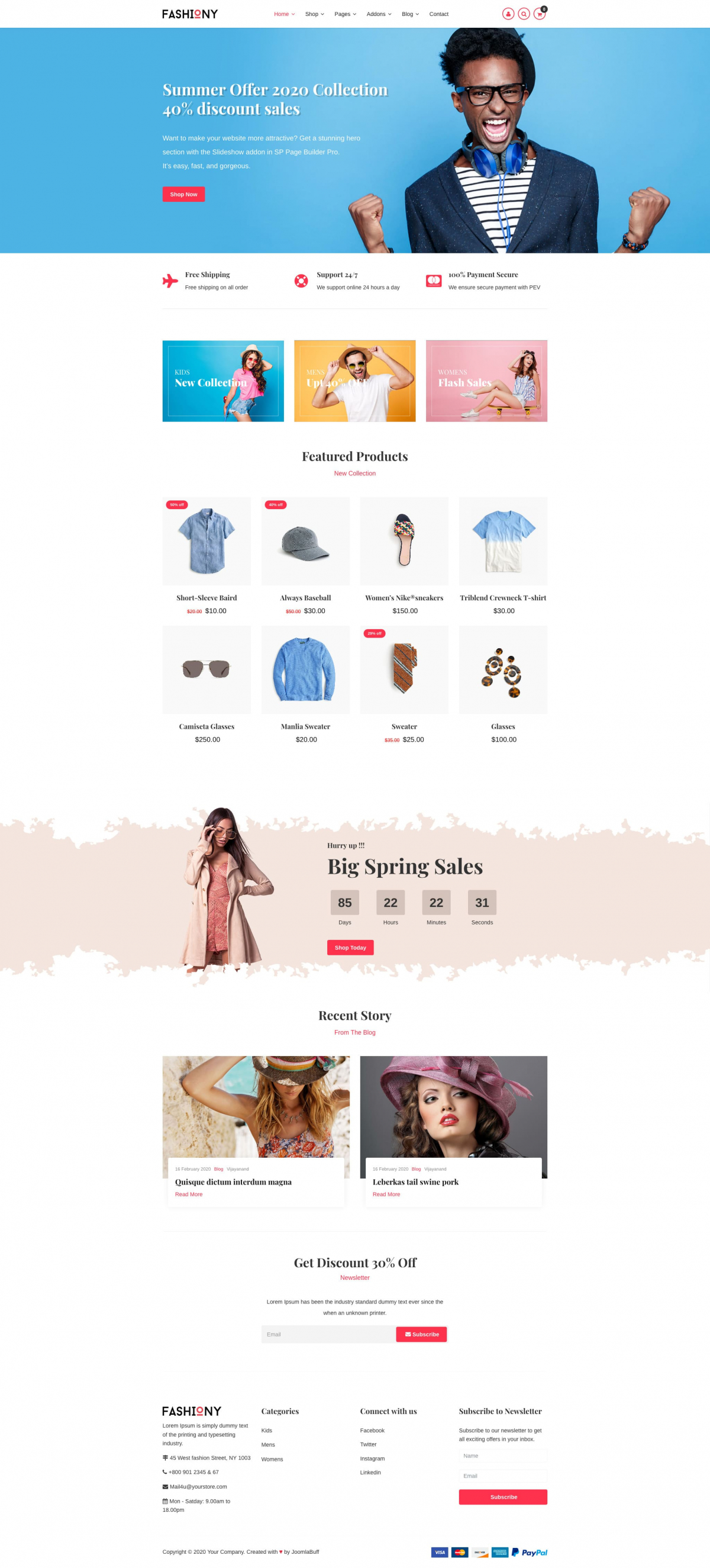 Fashiony - Fashion J2Store Joomla eCommerce Template
