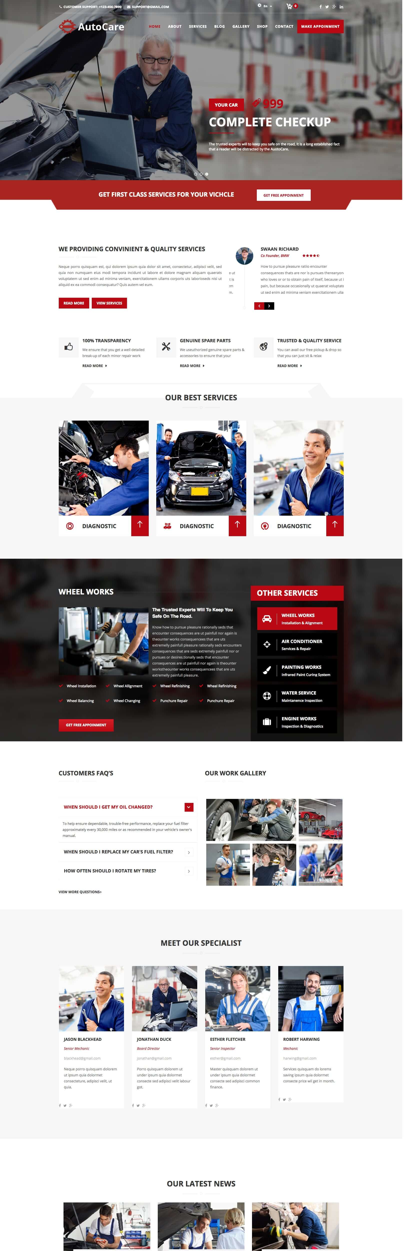 Autocare - Car Mechanic & Auto Repair Centers Joomla Template